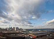High angle view of a city, Boston Harbor, Boston, Suffolk County, Massachusetts, USA