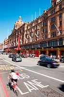 Knightsbridge traffic with Harrods to the rear