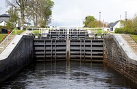 neptunes staircase series of locks on the caledonian canal near fort william highland scotland uk