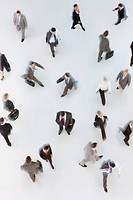 Business people walking on white background