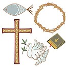 Collection of 5 different christian symbols