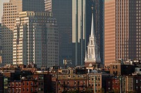 Church with skyscrapers in a city, Old North Church, North End, Boston, Suffolk County, Massachusetts, USA