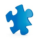 3d render of blue single puzzle on white background