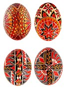 Hand_made traditional Easter eggs on white background