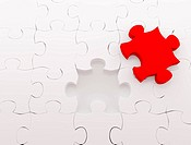 Puzzle over white background. 3d rendered image