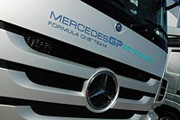 Team logo on the service truck of Mercedes GP Formula 1 Team