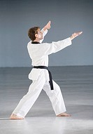 Young man practicing karate