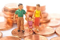 Figurines, family on euro cent coins
