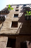 Facade of old residential building at Gothic Quarter, Barcelona, Catalonia, Spain