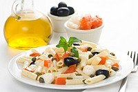 fresh macaroni mozzarella olives capers tomatoes salad isolated