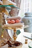 Meringue cake and bonbons on a cake buffet