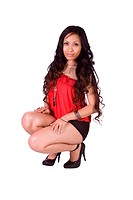 Isolated Shot of a Beautiful Polyneasian Girl _ White Background