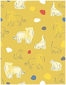 Vector seamless pattern featuring curious baby lions amongst geometrical shapes.