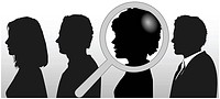A magnifying glass finds, selects or inspects a person in a line of silhouette people: search & choose for employment, recognition, promotion, hire, e...