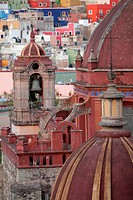 Church belltower and colorful houses. The historic city of Guanajuato is a UNESCO World Heritage Site.