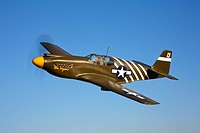 A P_51A Mustang in flight.