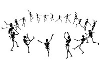 Editable vector skeleton silhouettes dancing in a ring with each skeleton as a separate object