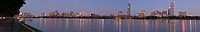Panorama of the river and city skyline looking northwest to southeast shot from Cambridge, Charles River, Boston, Suffolk County, Massachusetts, USA