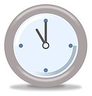 Silver and blue clock on white background showing eleven