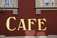 Lettering cafe on a wall, Heidelberg, Baden-Wuerttemberg, Germany, Europe