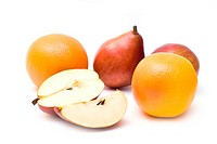 Pears and orange grapefruits isolated