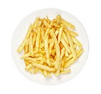 close up of ready to use french fries in white plate on white background with clipping path