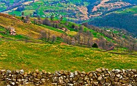 Fields on the Slopes of The Pyrenees With Old Farmhouses