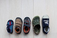 Children's shoes in various sizes from baby to kindergarten-age