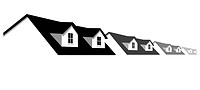 House symbol border. A row of homes with 2 dormer windows for sale, for real estate, construction, architecture, home repair designs.
