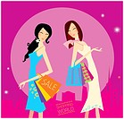 Two shopping women in the city. Vector Illustration.