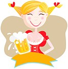 Oktoberfest bavarian woman in traditional clothes with beer. Vector Illustration.
