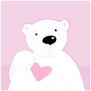 Cute polar bear character with pink heart. Vector cartoon illustration.