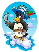 Pirate penguin on iceberg _ color illustration.