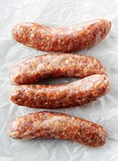 Raw sausages Bratwurst
