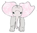 An elephant with a floral pattern in its ears