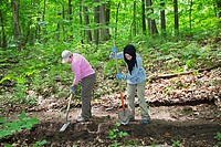 Ann Arbor, Michigan - Volunteers rebuild a section of a hiking trail in Black Pond Woods  The volunteers were recruited through Recreational Equipment...