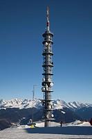 Radio mast, transmitter mast, Kronplatz winter sport region, Kronplatz mountain, 2272 m, Bruneck, Puster Valley, Province of Bolzano-Bozen, Italy, Eur...