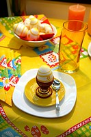 easter table with eggs for breakfast