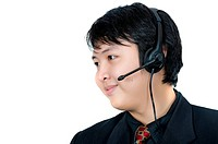 Asian phone operator wearing suit isolated over white background