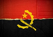 Flag of Angola made with corrugated cardboard