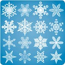 16 perfect snowflakes for your winter and holiday themed designs. The background behind the snowflakes uses a gradient.