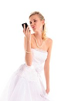 happy bride with mobile phone isolated on white