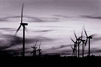 Wind power turbines or windmills in B&W
