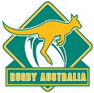 illustration of a kangaroo wallaby jumping with ball in background and words rugby australia
