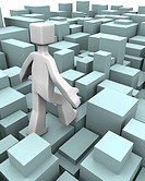 Man walking through uneven blocks overcome of difficulty concept 3d illustration