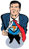 illustration of a Superhero looking up with question mark sign on chest