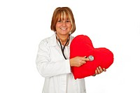 Heart in hand, doctor with stethoscope isolated on whitebackground