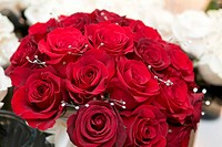 red roses, wedding flower bouquet