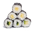 Cucumber maki rolls over white background