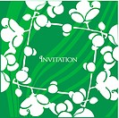 spring invitation card on green background